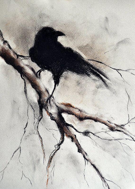 Drawn raven hippie chick Original Gothic Raven Drawing Crow