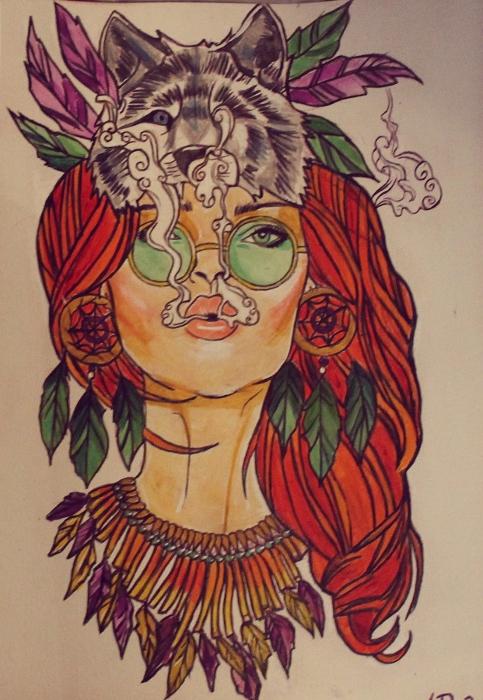 Drawn raven hippie chick Hippie com/art tattoo design http://ahsr