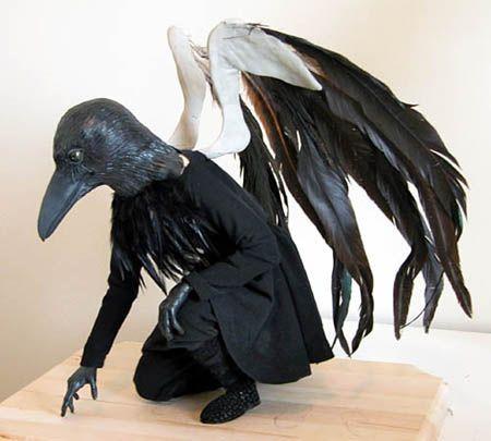 Drawn raven humanoid Assembly Art Doll Men Bird