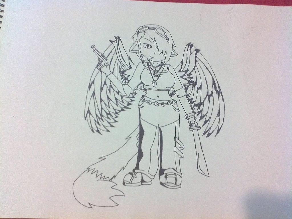 Drawn raven humanoid On by RAVEN RavenRiverblood in