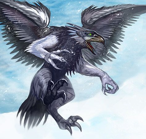 Drawn raven humanoid A origins in valravn many