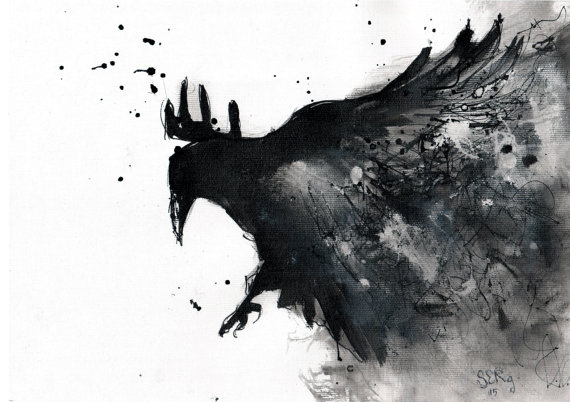 Drawn raven ink splatter Flying Raven canvas on painting