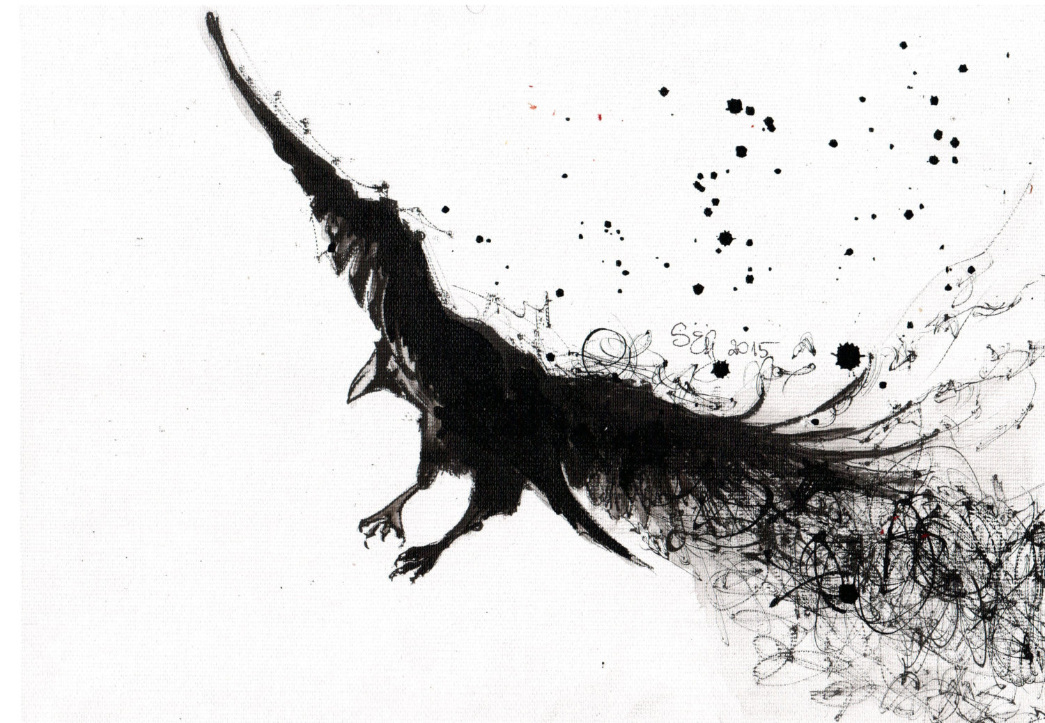Drawn raven ink splatter RESERVED on A4 canvas drawing