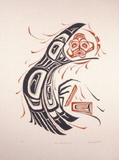 Drawn raven inuit  Raven Tlingit sun :