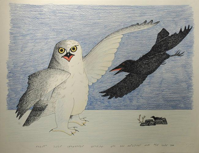 Drawn raven inuit Artist Inuit by by Pootoogook