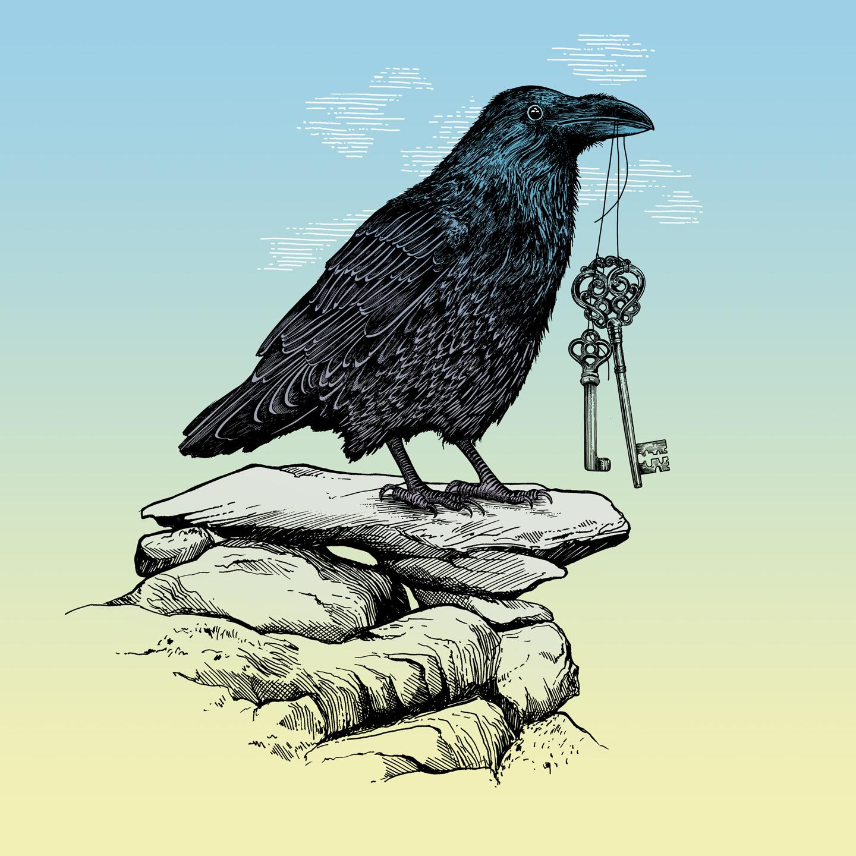 Drawn raven key Fly Thirsty Keys Raven's