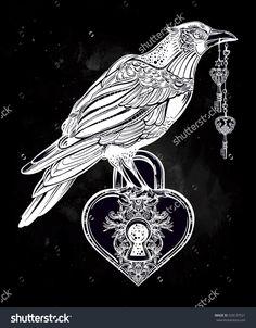 Drawn raven key Engraved Ritas NUMBER shaped Hoodoo