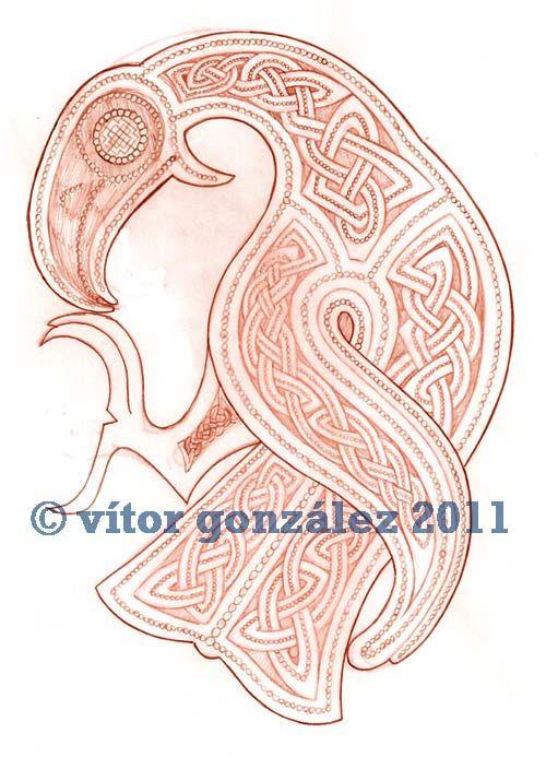 Drawn raven knotwork DeviantART Viking crafts inspired