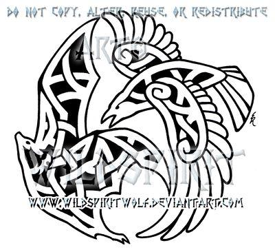 Drawn raven knotwork Design Raven tattoo 25+ on