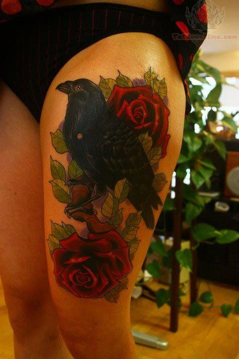 Drawn raven leg Images Roses & Ravens Thigh
