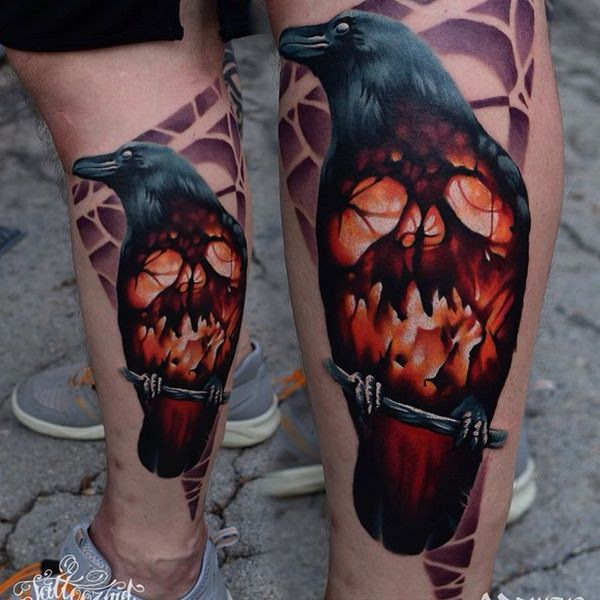 Drawn raven leg Raven Tattoo Artistic 17 tattoos15