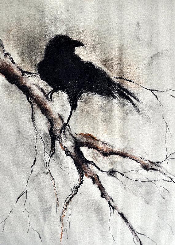 Drawn raven minimalist Gothic Wall Art Crow Wall