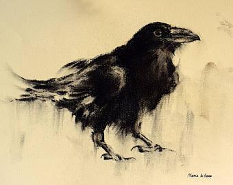 Drawn raven minimalist White Large Raven on Minimalist