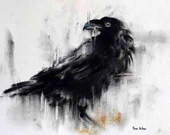 Drawn raven minimalist Crow 12x8