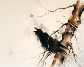 Drawn raven minimalist LARGE Branch Ravens Gothic Original