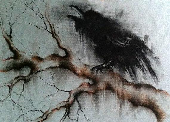 Drawn raven minimalist And Branch a Black Drawing