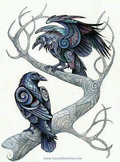 Drawn raven moon Drops Earrings Blackwash Mini by