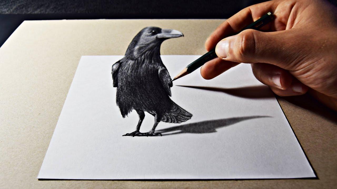 Drawn raven pencil drawing Drawing 3D Art 3D YouTube