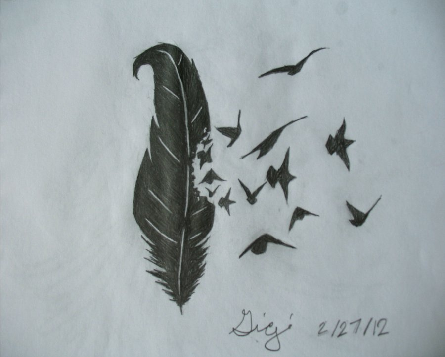 Drawn raven raven feather Raven drawing Feather feather photo#9