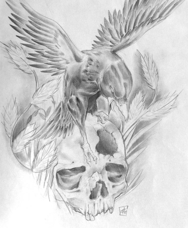Drawn raven rose Tattoo skull for snake snake