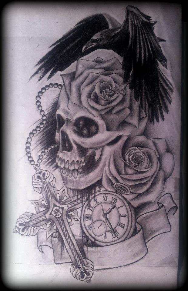 Drawn raven rose Tattoo raven cross Skull on