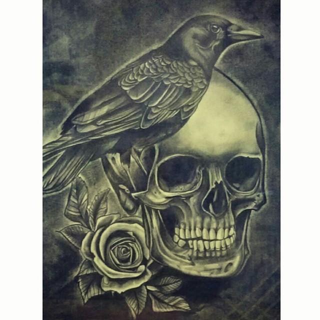 Drawn raven rose #skull #flowers Instagram rose #darkart