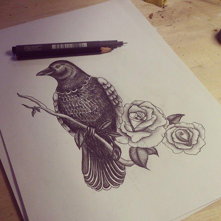 Drawn raven rose 113 Raven Tattoos Tattoo best