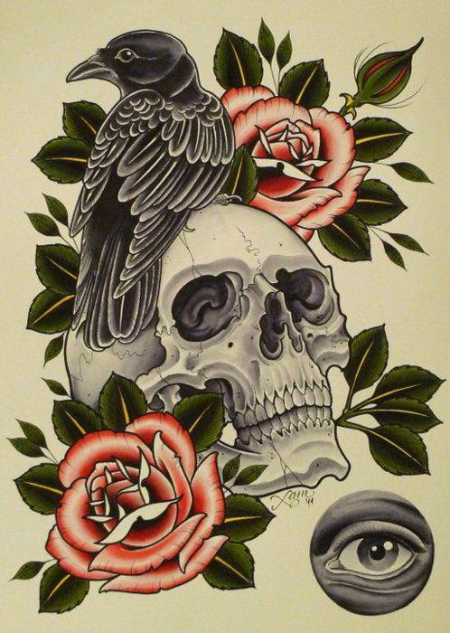 Drawn raven rose Crow 20+ Pinterest Skull skull