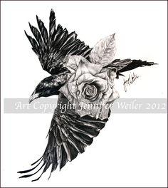 Drawn raven rose Raven and rose rose tattoo