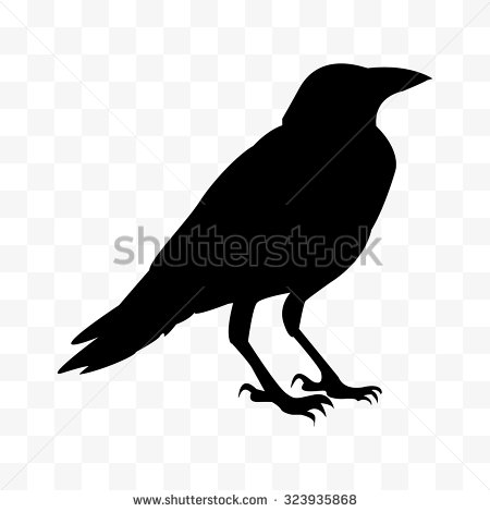 Drawn raven silhouette Raven standing of standing crow