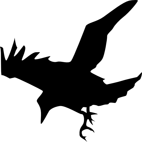 Drawn raven silhouette Panda Images Clip Art Free