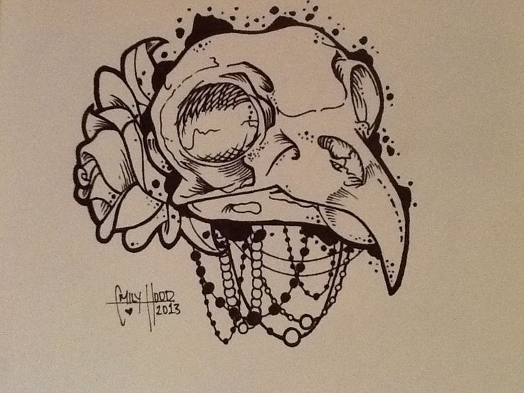 Drawn raven skull By design tattoo Drawing Best