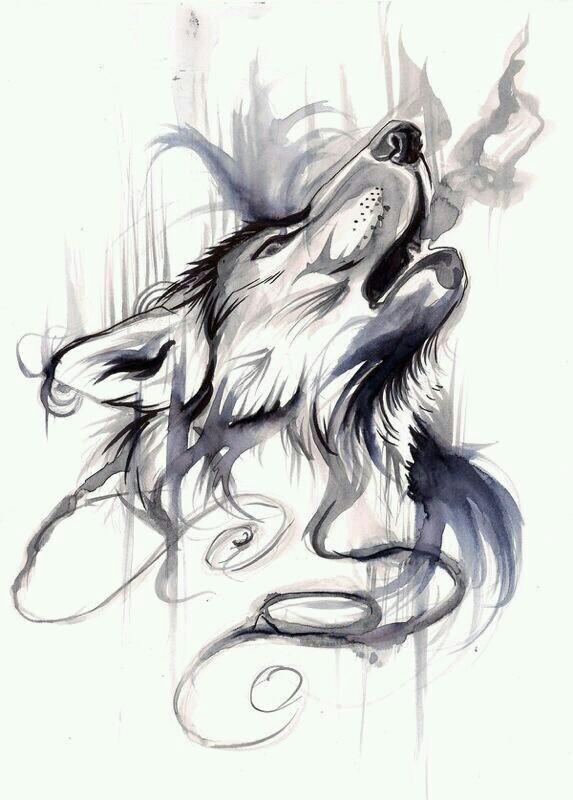 Drawn howling wolf the raven Tatuajes Tattoo Tatuajes Pinterest Tattoo