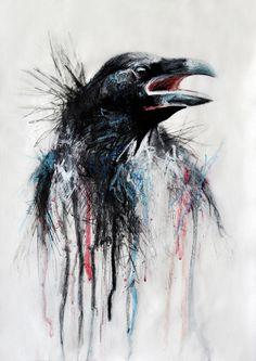 Drawn raven smoke Flying by  720x1280 smoke