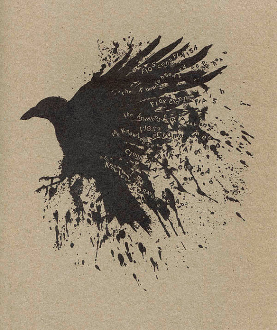 Drawn raven smoke Irish Art of smoke Gothic
