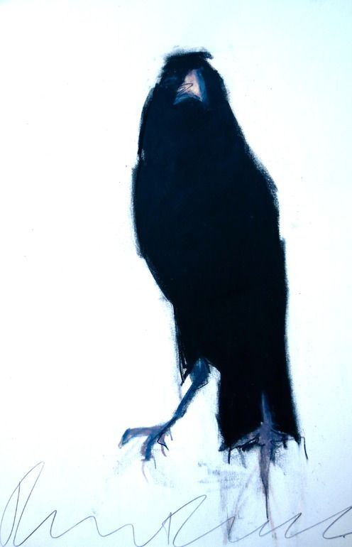 Drawn raven snow Crows on