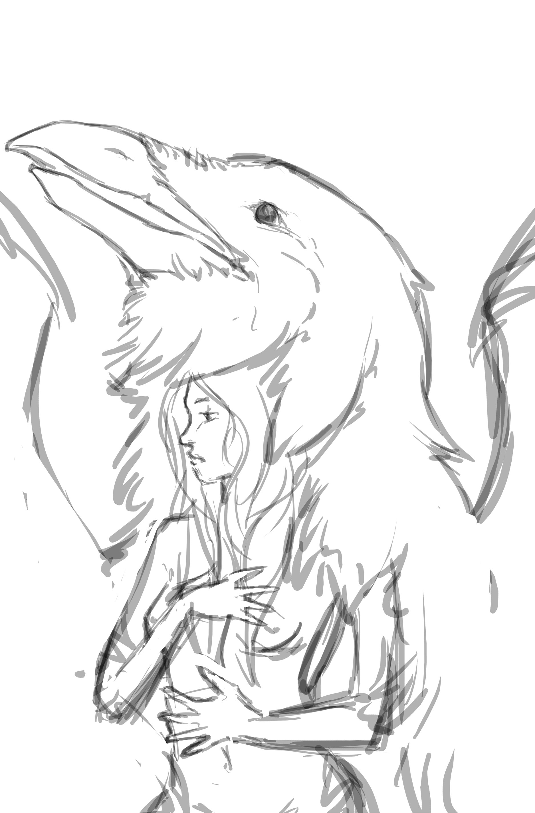 Drawn raven spirit animal Sketch) have rough the super