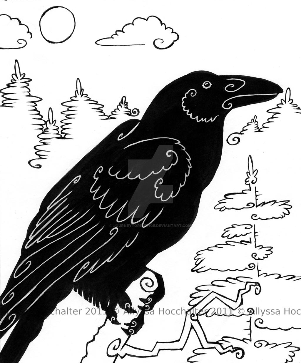 Drawn raven spirit animal By Raven JourneytoRevenge Totem: Totem: