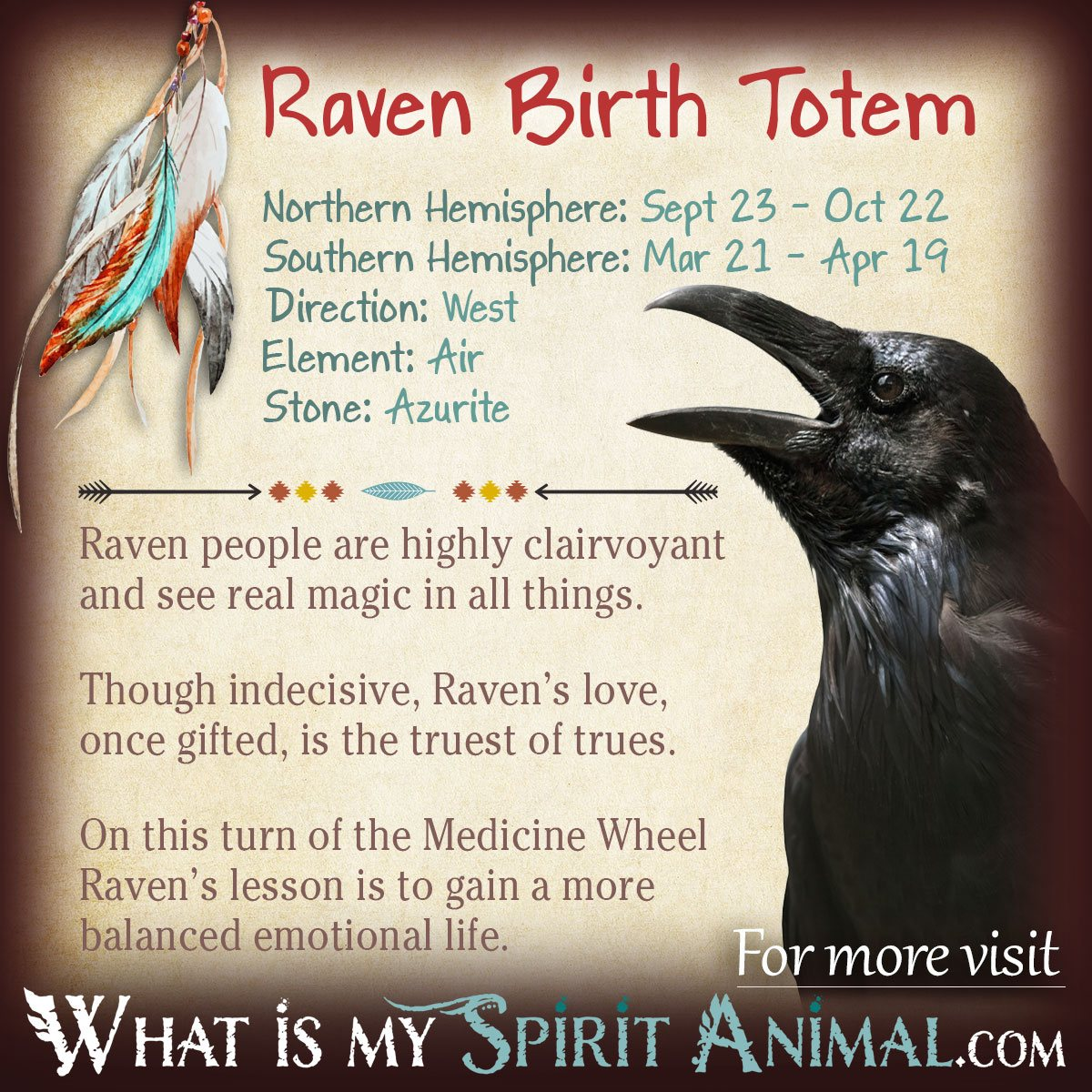 Drawn raven spirit animal Signs American Totem Native American
