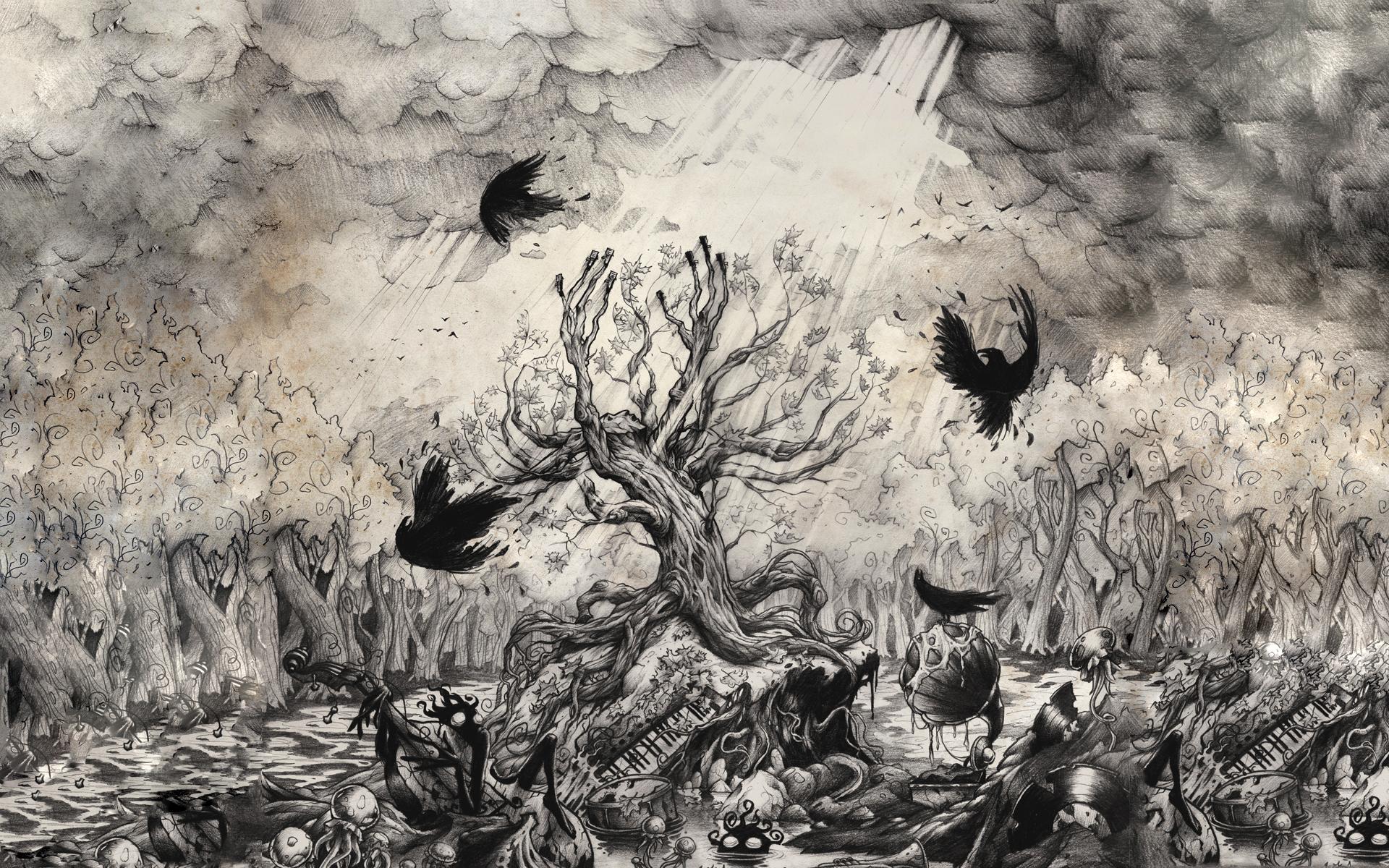 Drawn raven spooky Spooky animal WallpaperUP 1920x1200 dark