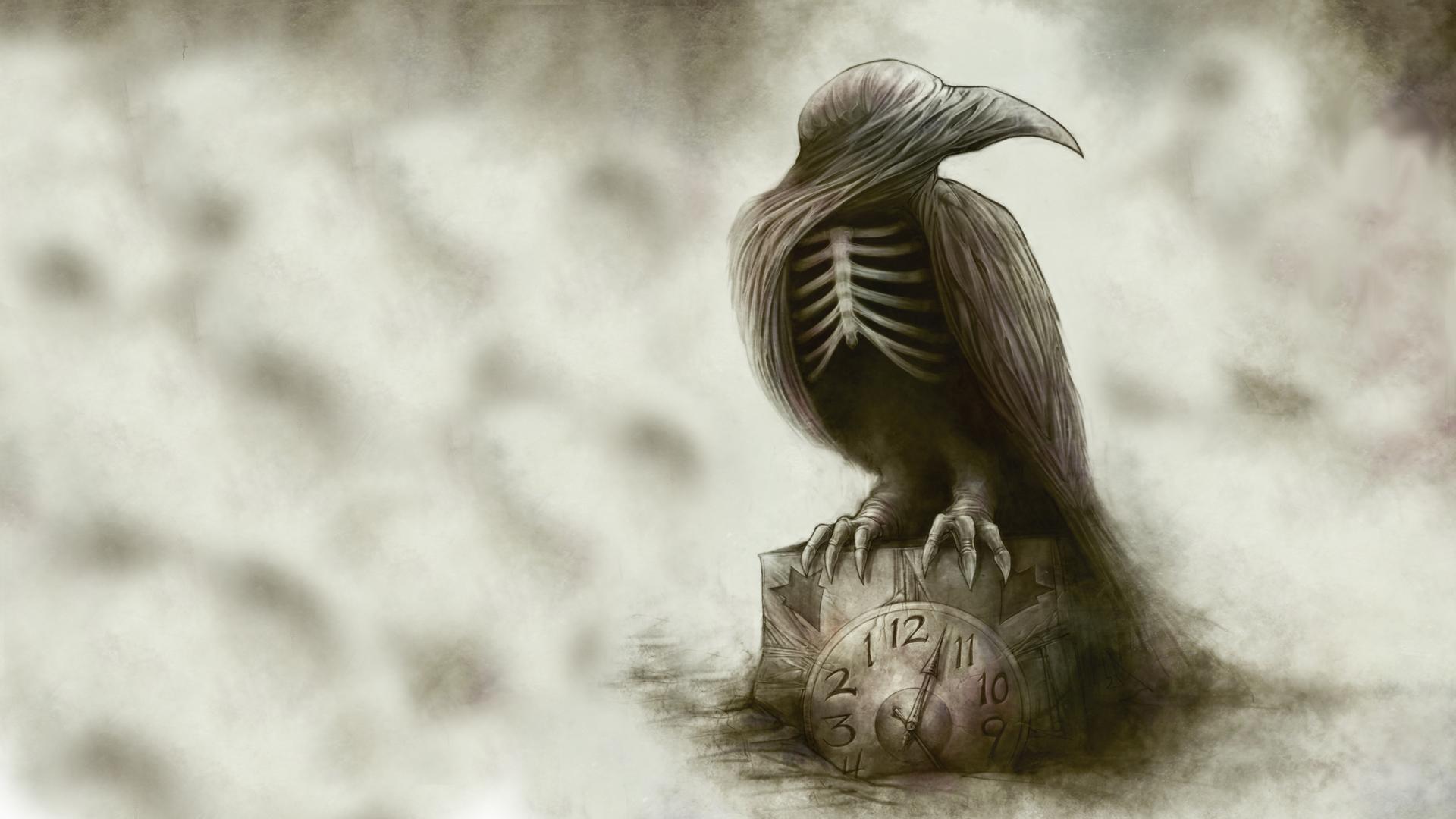 Drawn raven spooky Dark Skeleton wallpapers Clock poe