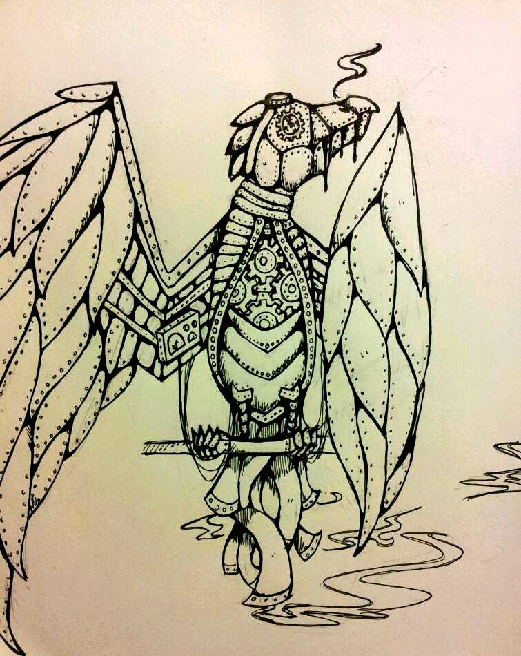Drawn steampunk raven Kaji on by Steampunk by