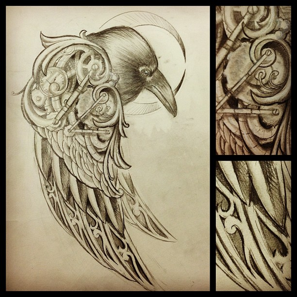 Drawn steampunk raven Tattoo do get a get