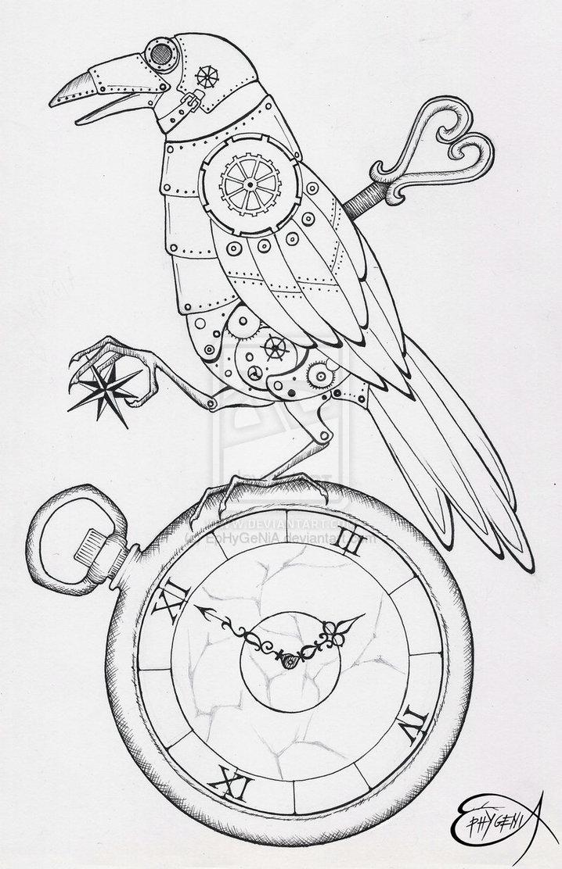 Drawn steampunk raven A Beautiful done were