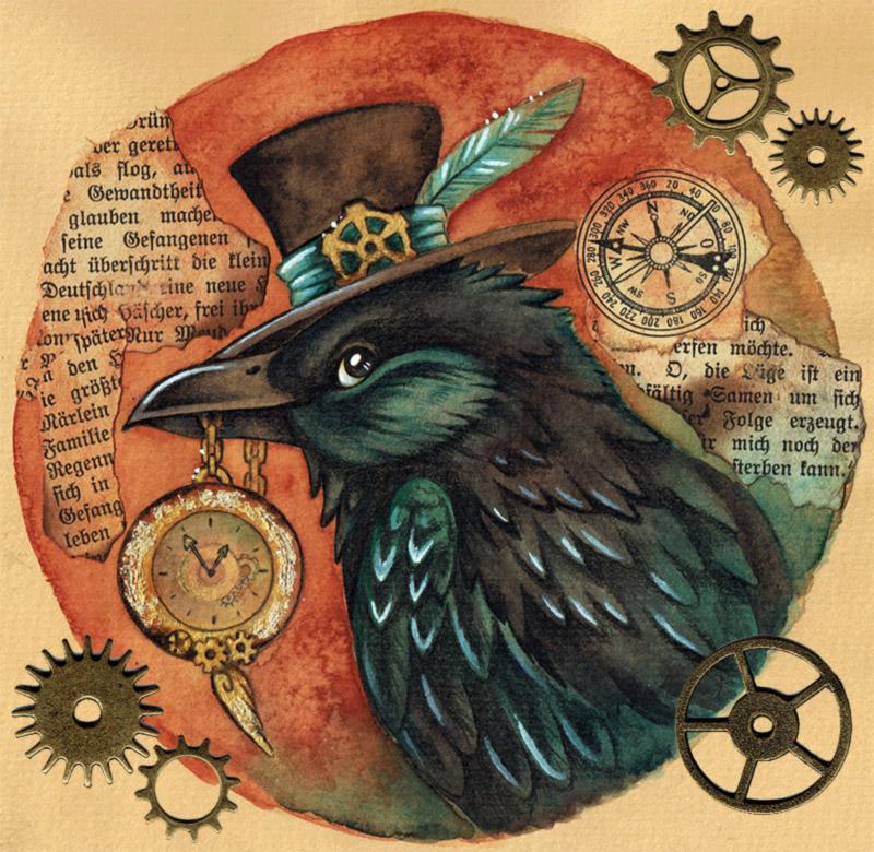 Drawn steampunk raven On by Steampunk kiriOkami Raven