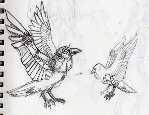 Drawn steampunk raven Crow) and Ravens the