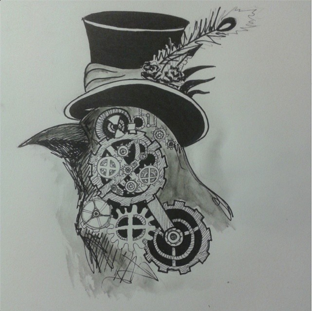 Drawn steampunk raven By on the by steampunk