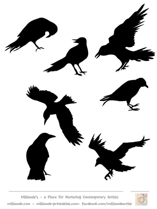 Drawn raven stencil Bird milliande Best on Silhoutte