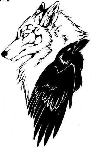 Drawn raven stencil And printing  Raven Wolf