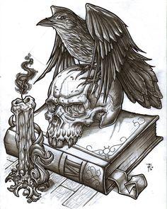 Drawn raven traditional Harem Art Emerson Macabre man's
